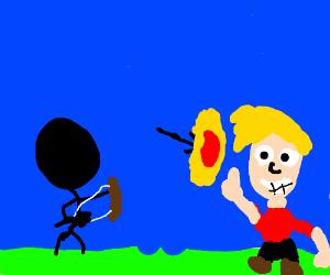 Man fires an arrow at Jazza; arrow explodes