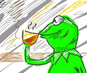 Kermit drinking Lipton tea
