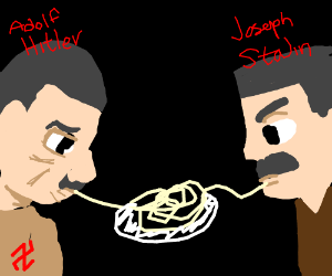 Hitler and Stalin reenact lady and the tramp