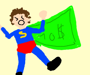 angry superhero wearing cap and $10 as a cape