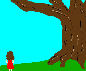 Girl contemplates large tree