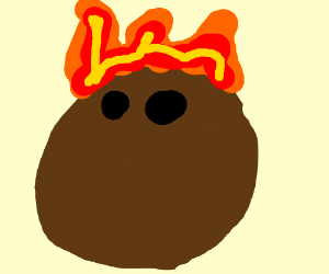 Coconut on fire