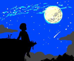 man looks up into the night sky