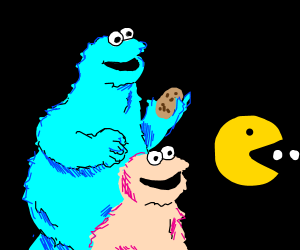 Pink and Blue Cookie Monsters follow Pac Man