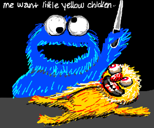 Cookie monster mistakes yellmo for food