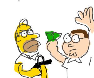 Homer simpson robbin peter griffin at gunpoint