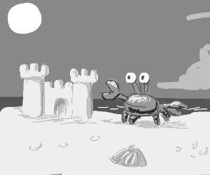 Crab near Sand Castle