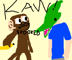 chimp is startled with pteranodon headed man
