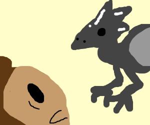 Monkey Boi spooked by Pterodactyl Boi