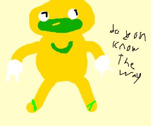 a sickly yellow green Uganda knuckles threat