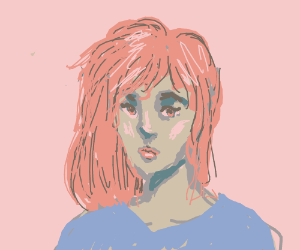 pink bg, girl w/ fuchia hair + red lips/eyes.