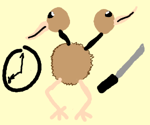 doduo with a sword at 8'o clock