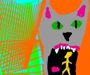 Cat eats small yellow alien