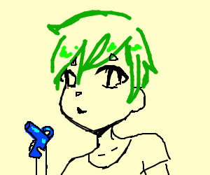 anime chibi with blue gun and green hair