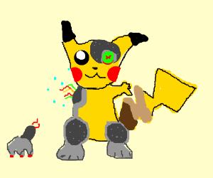 cyborg pikachu. has lost an arm