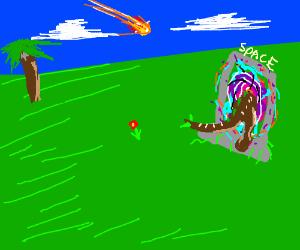 Dinosaur enters a space portal