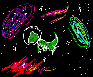 dinosaurs going to space