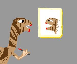 A raptor putting on lipstick.