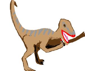 Velociraptor tries on lipstick