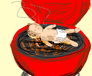 Baby in a Barbeque