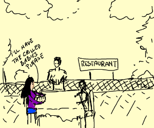 Woman ordering babies in an outside restaurant