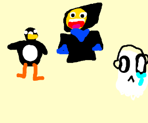 Napstablook, Master Frown and Gwen the Penguin