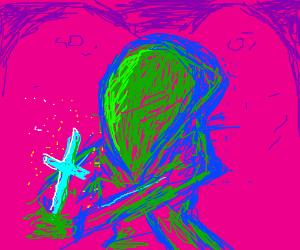hooded figure praying