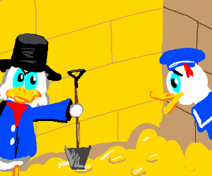 Scrooge McDuck wants Donald to dig in his Gold