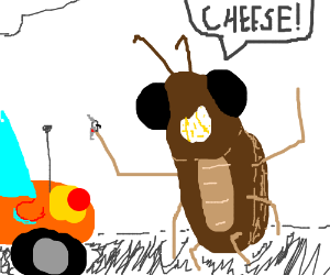Cockroach holding a car key saying cheese