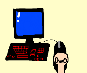 Hand with OwO face holding a computer mouse