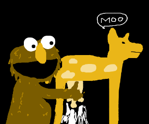Elmo spills the milk. Cow is happy