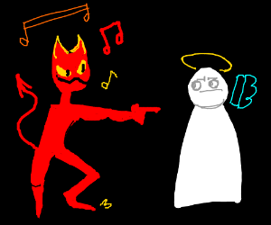 dancing devil pointing at lil angel