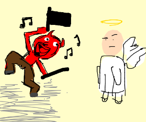 Satan sings and dances for angel