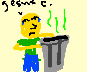 Yellow man smells trash can and says Jesus C.