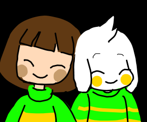 Chara and asriel cute pose