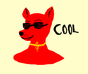 cool dog with red head and necklace