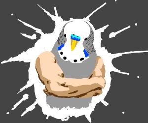 Buff bird-headed man