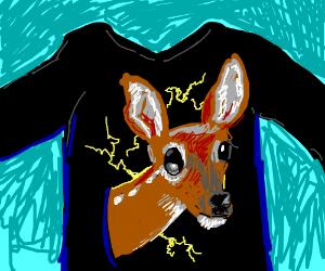 a mans shirt has an electric deer