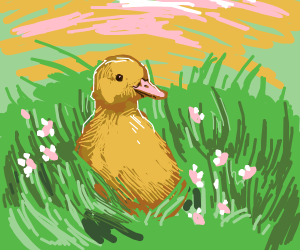 Duck and Flowers