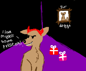 Evil dog loves presents