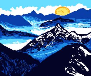 Egg yolk setting behind the blue hills