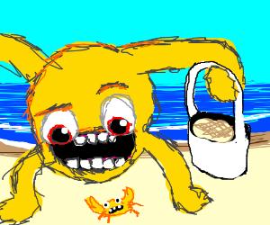 Yellmo meets a yellmo crab on the beach!