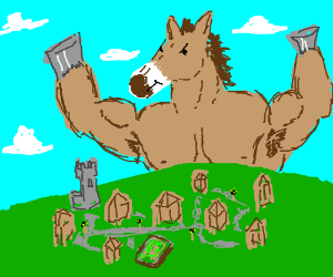 The Mule of Chaos terrorizes a village