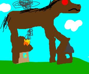 Giant Horse Terrorizes Village