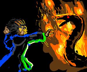 Wizard vs Giant Fire Snake