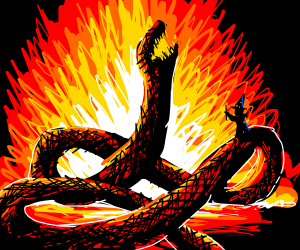 Wizard burns a giant snake
