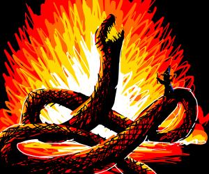 Wizard burns a giant snake