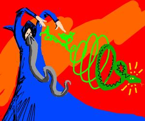 Wizard Casts A Spell Summoning A Snake