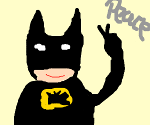 Batman doing the peace sign