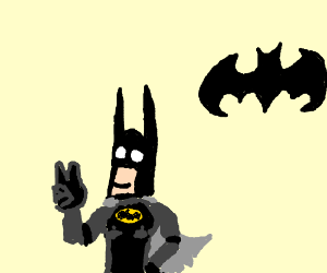 batman puts up peace sign